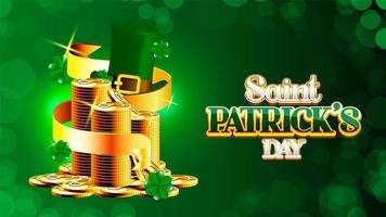 St. Patrick's Day poster with ribbon wrapped around coins vector