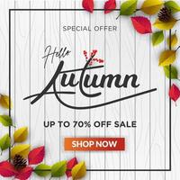 Autumn web template with leaves on wooden background