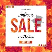 Autumn sale leaf background with white square for text