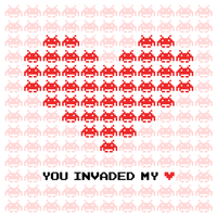 Space Invaders Valentine Card Vector