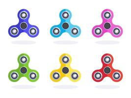 Colorful Flat Fidget Spinner Vector Icons