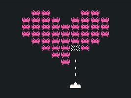 Heart Space Invaders Vector Background