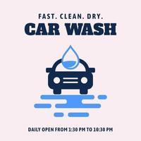 Sinal de vetor de lavagem de carro minimalista