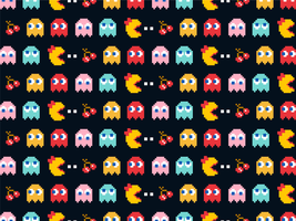 Pacman Seamless Vector Background
