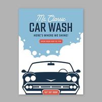 Retro Car Wash Poster Vector Template