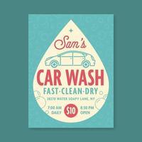 Plantilla de Vector de signo de lavado de coches retro