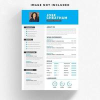 White resume template with blue details