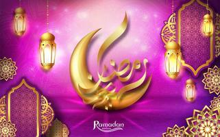 Ramadan Kareem pink greeting card design with gold moon and lanterns