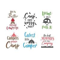 Camp quote lettering typography set