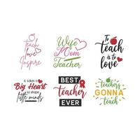 Teacher quote lettering typography set vector