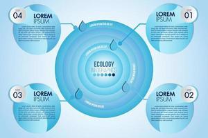 Diseño circular infográfico eco water blue con 4 pasos u opciones vector