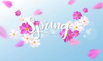 Design banner Spring background with beautiful pink and white flower