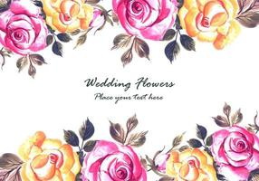 Romantic wedding  colorful flowers card background