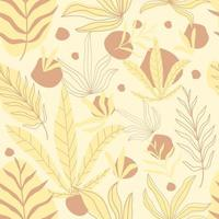 Fashionable seamless tropical pattern with yellow leaves.