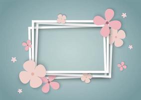 Flores de colores con marcos cuadrados en capas