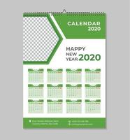 One page new year 2020 wall calendar template vector