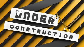 Under construction sign on yellow black stripes background vector