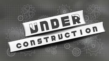 Under construction on chalkboard with gears vector