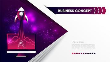 Business concept with rocket flying from computer vector