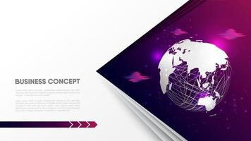 Globe sphere clouds on purple background vector