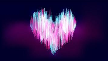 Abstract neon-like style heart shape on gradient