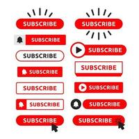 Red Subscribe Button Set
