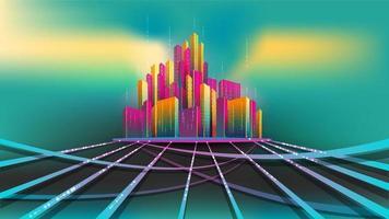 Grupo de colorido edificio en la base de conexión con brillos camino.