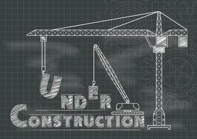 Chalkboard blueprint Under Construction sign with crane, gears and cogs vector