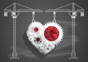 Construction of gears and cogs in heart shape vector
