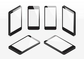 Set of isometric mobile phones