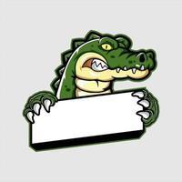 mascota de cocodrilo sosteniendo pancarta en blanco
