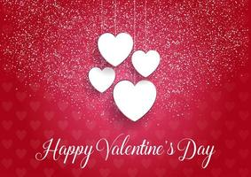 Decorative Valentines Day background with hanging hearts vector