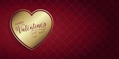 Valentines Day banner with gold heart vector