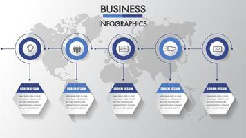 Business infographics Timeline with 6  circle and hexagon steps