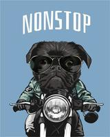 black pug riding motorcycle illustration vector