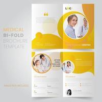 Yellow Circle Design Medical Bi Fold Brochure Template vector