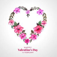 Beautiful decorative flower heart card background vector