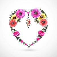 Tarjeta decorativa hermosa del corazón de la flor vector