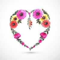 Beautiful decorative flower heart card  vector