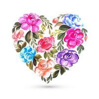 Kleurrijke bloem wenskaart met hart ontwerp
