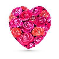 Feliz día de San Valentín tarjeta de felicitación de rosas coloridas con diseño de corazón