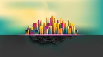 Edifícios arranha-céus coloridos em cima de engrenagens e rodas dentadas vetor
