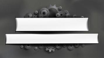 Engranajes y engranajes negros con marcos blancos para texto vector