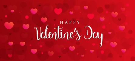 Red valentines day banner with floating hearts vector
