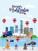 animales australia celebración del día vector