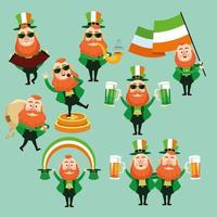Set of saint patrick's day leprechauns