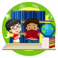 Two boys reading books at school vector