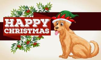 Plantilla de tarjeta de navidad con perro y muérdago vector