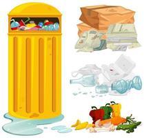Lixo sujo e lata de lixo vetor