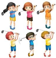 Kids playing golf vector